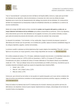 ALTERNATIVAS A LOS DEPÓSITOS PARA EL INVERSOR