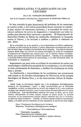 `NOMENCLATURA Y CLASIFICACIÓN DE LOS CÁNCERES
