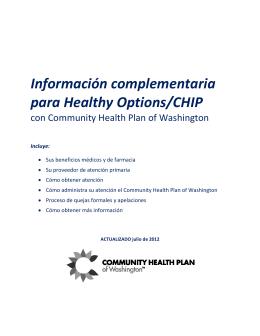 Información complementaria para Healthy Options/CHIP