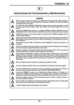 TORNADO T2 Instrucciones de Funcionamiento y