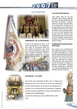 HERMANDAD DE LA ESPERANZA El día 10 de Febrero de 2007