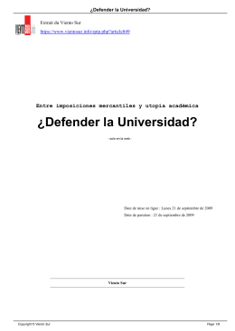 ¿Defender la Universidad?