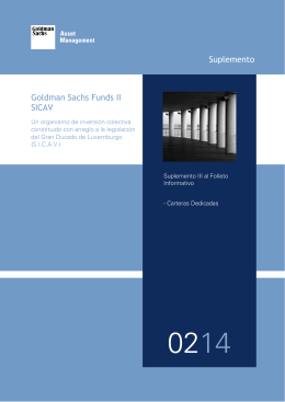 Suplemento Goldman Sachs Funds II SICAV
