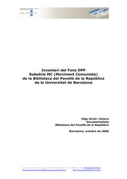 Inventari del Fons DPP Subsèrie MC (Moviment Comunista) de la