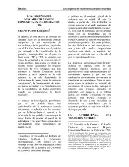 Origenes del movimiento armado comunista en Colombia