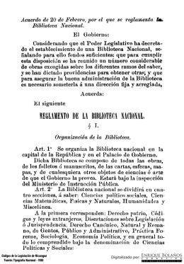 Acuerdo - Se reglamenta la Biblioteca Nacional
