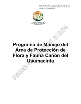 Programa de Manejo del Área de Protección de Flora y