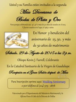 Misa Diocesana de Bodas de Plata y Oro