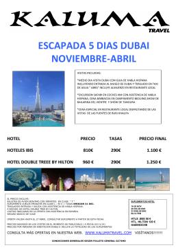 ESCAPADA 5 DIAS DUBAI NOVIEMBRE-ABRIL
