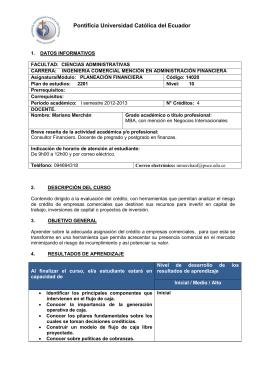 Planeacion Financiera - Pontificia Universidad Católica del Ecuador