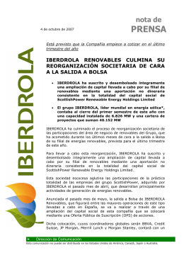 04/10/07 IBERDROLA Renovables culmina su reorganización