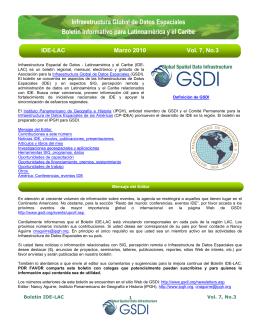 Infraestructura Global de Datos Espaciales Boletín