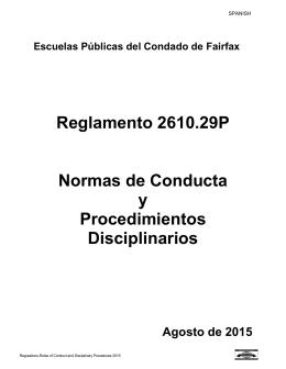 Reglamento 2610.29P Normas de Conducta y Procedimientos
