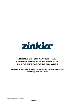 Zinkia - Reglamento Interno de Conducta FINAL