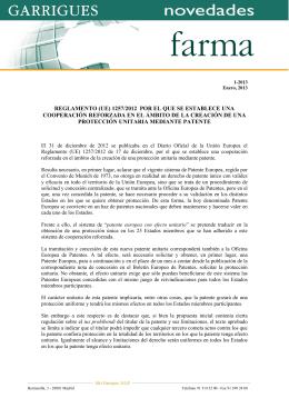 reglamento (ue) 1257/2012 por el que se establece una