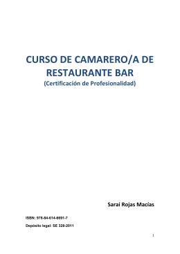 CURSO DE CAMARERO/A DE RESTAURANTE BAR