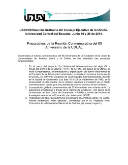 Preparativos de la Reunión Conmemorativa del 65 Aniversario de la