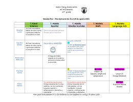Saint Mary School 2014 35 Aniversario. 2nd grade Weekly Plan
