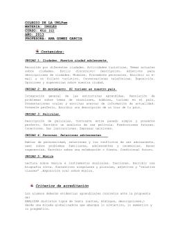 COLEGIO DE LA UNLPam MATERIA: INGLÉS CURSO: 4to (c) AÑO