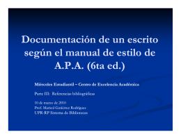 Documentación de un escrito según el manual de estilo de APA (6ta