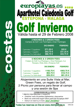 3 NOCHES & 2 GREEN FEES 271.25 € 325 € 203.75