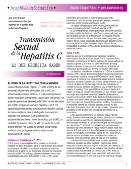 Transmisión Sexual de la Hepatitis C: LO QUE