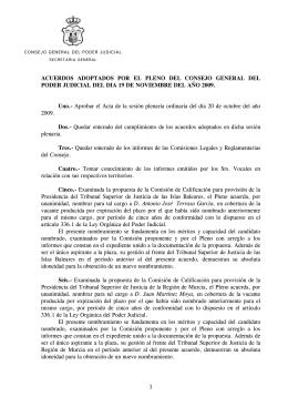 Acuerdos del Pleno del CGPJ de 19 de noviembre de 2009Abre en