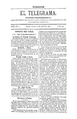 Año III, núm. 431, viernes 10 de abril de 1891
