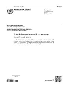 Informe del Relator Especial sobre el derecho humano al agua