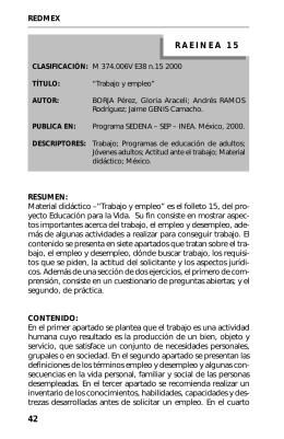15. Trabajo y empleo - Biblioteca Digital CONEVyT