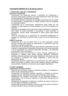 CONTENIDOS MÍNIMOS DE 2º DE BACHILLERATO 1. ESCUCHAR