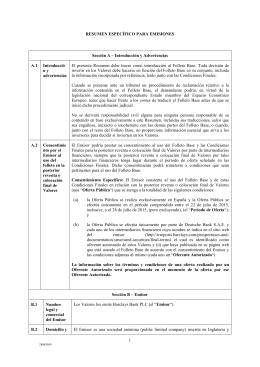 1 RESUMEN ESPECÈFICO PARA EMISIONES Sección A