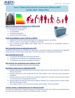 "Curso ""Elaboración Informes Evaluación Edificios (IEE"