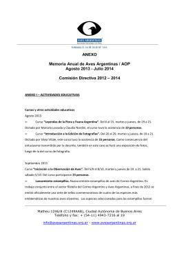 Aves Argentinas AOP - MEMORIA 2013-2014