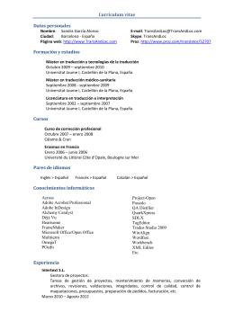 Currículum vitae Datos personales Formación y estudios