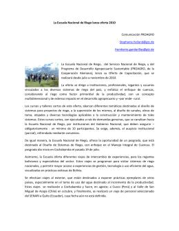 La Escuela Nacional de Riego lanza oferta 2010 Comunicación
