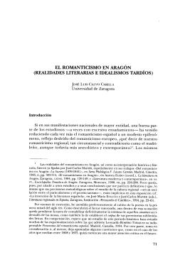 El Romanticismo en Aragón (realidades literarias e idealismos tardíos)