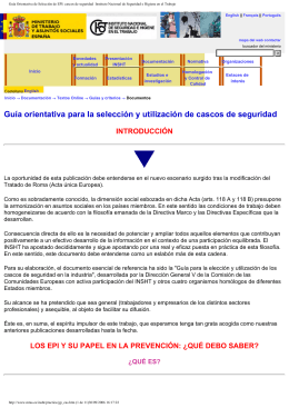 Guía Orientativa de Selección de EPI: cascos de seguridad