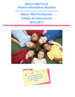 PreK Booklet Full Pages - Manor Independent School District