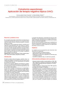 Colostomia espontanea: Aplicación de terapia negativa