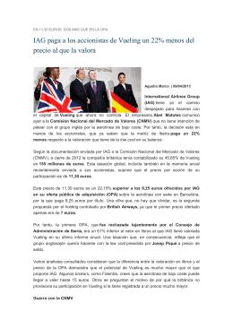 IAG paga a los accionistas de Vueling un 22% menos del precio al