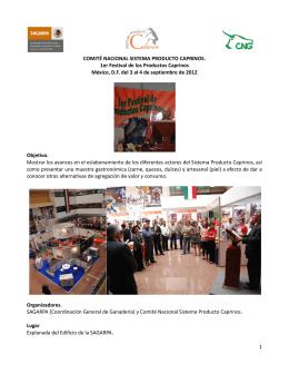 1er Festival de los Productos Caprinos México, D.F. del 3 al 4 de