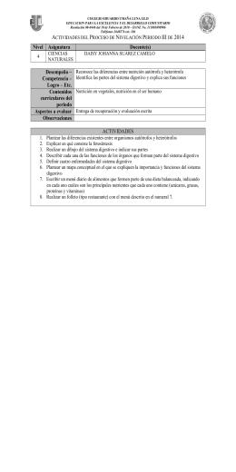 Nivel Asignatura Docente(s) Desempeño – Competencia – Logro