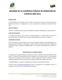 INFORME DE LA AUDIENCIA PÚBLICA DE RENDICIÓN DE
