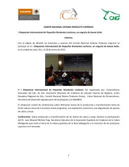 1 COMITÉ NACIONAL SISTEMA PRODUCTO CAPRINOS. I