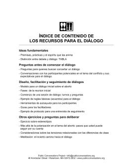 índice de contenido de los recursos para el diálogo