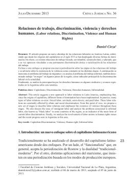 Relaciones de trabajo, discriminación, violencia y derechos