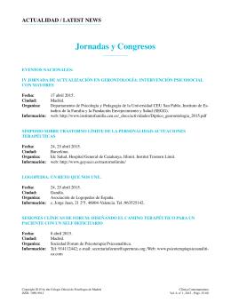 Jornadas y Congresos - Colegio Oficial de Psicólogos de Madrid