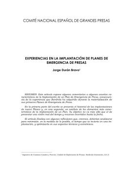 Experiencias en la Implantación de Planes de Emergencia de Presas