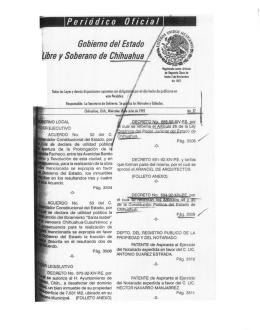 Periódico oficial Gobierno del Estado libre y Soberano de Chihuahua